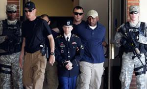 Bradley Manning with guards